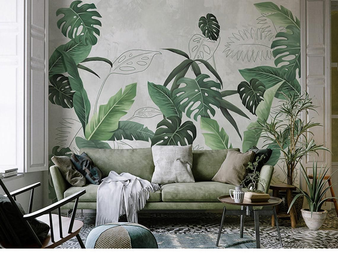Southeast Asian Rainforest Plant Wall Murals Wall Decor Green Leaves Shrub Wallpaper Wall Mural Tropical Landscape Wallpaper Rainforest Plants Wall Murals Earthy Home Decor