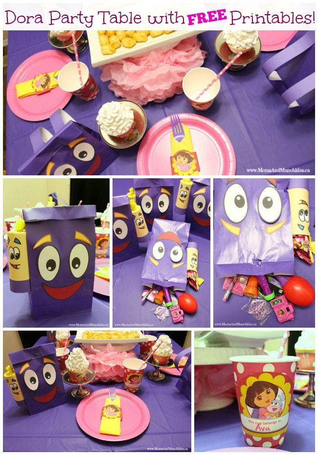 Dora Party Table with Free Printables Free printables Birthdays