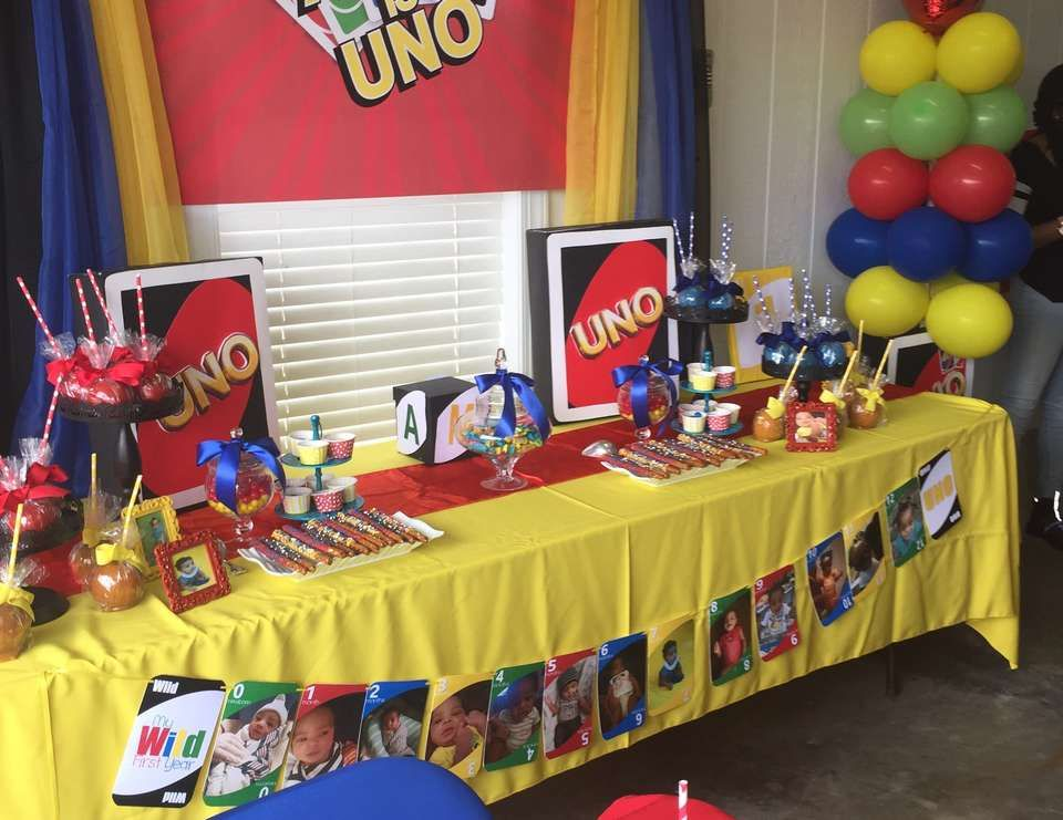 "Uno Card Theme / Birthday ""Amir is Uno"" Baby boy 1st"