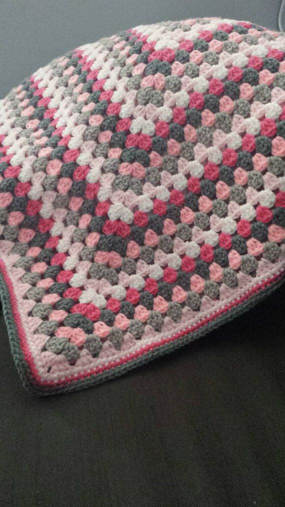 Beautiful baby or toddler blanket. Handmade of soft yarn in a smoke ...