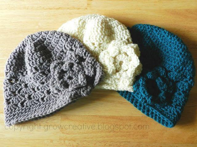 Womens Crochet Flower Hat   Crochet   Pinterest   Gorros, Gorros ...