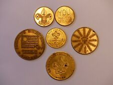 6 assorted vintage boy scouts metal tokens 1960 scout oath