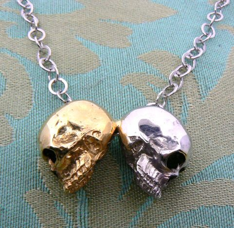 "Skull pendant ""Double"" in white and yellow gold 18 kt - Buy this? Dogale jewellery Venice Italy"