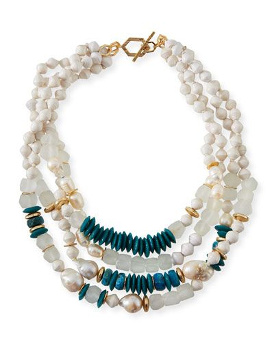 Akola Four-Strand Pearly Bead Necklace, 20L