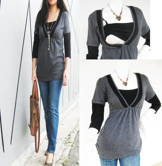 Nursing Clothes New GREY Shirt Original is part of Breastfeeding Clothes Winter - XL Size 1416   Fits LARGE to XLARGE  US Size 1012Sold out! BUSTSmall 90cm to 100cm (to 39 inches) Medium 95cm to 105cm (to 41 inches) Large 100cm to 110cm (to 43 inches) XLarge 105cm to 115cm (to 45 inches) Biggest Belly (front to back) Small 95cm to 100cm (to 39 inches) Medium 100cm to 105cm(to 41 inches) Large 105cm to 110cm (to 43 inches) XLarge 110cm115cm (to 45 inches) Length Small 66cm (26 inches)Medium 67cm (26 5 inches)Large 68cm (27 inches)XLarge 68 5cm (27 5 inches)