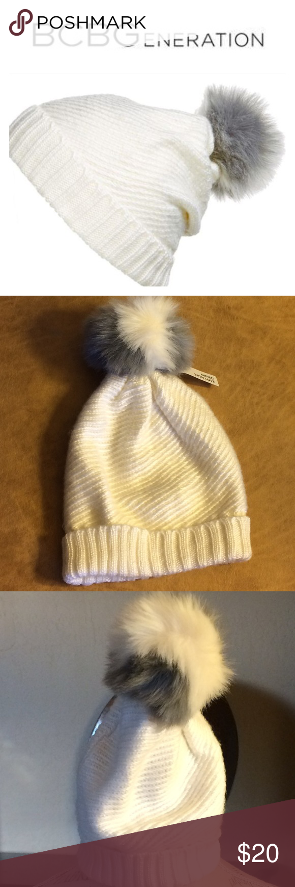 BCBGeneration Pom Pom Beanie optic white, knit pom pom beanie. Two color fluffy faux fur pom pom and Wide turned up cuff. NWT 🚫trades please BCBGeneration Accessories Hats