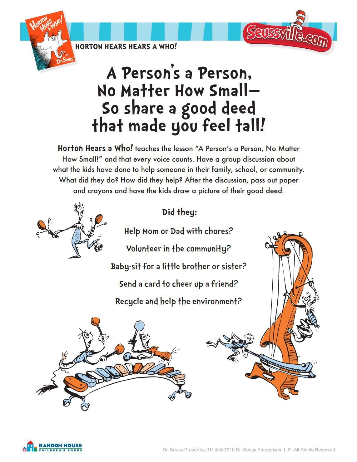 Dr Seuss Printables And Activities In