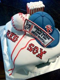 Grooms Cake 7 3D Red Sox With Box Of Popcorn In Sugar