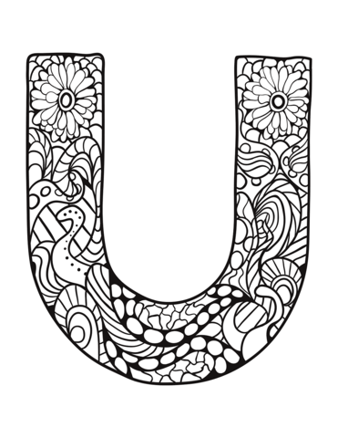 Letter U Zentangle Coloring Page From Zentangle Alphabet Category Select From 30582 Printable Crafts Of Ca Coloring Pages Free Coloring Pages Coloring Letters