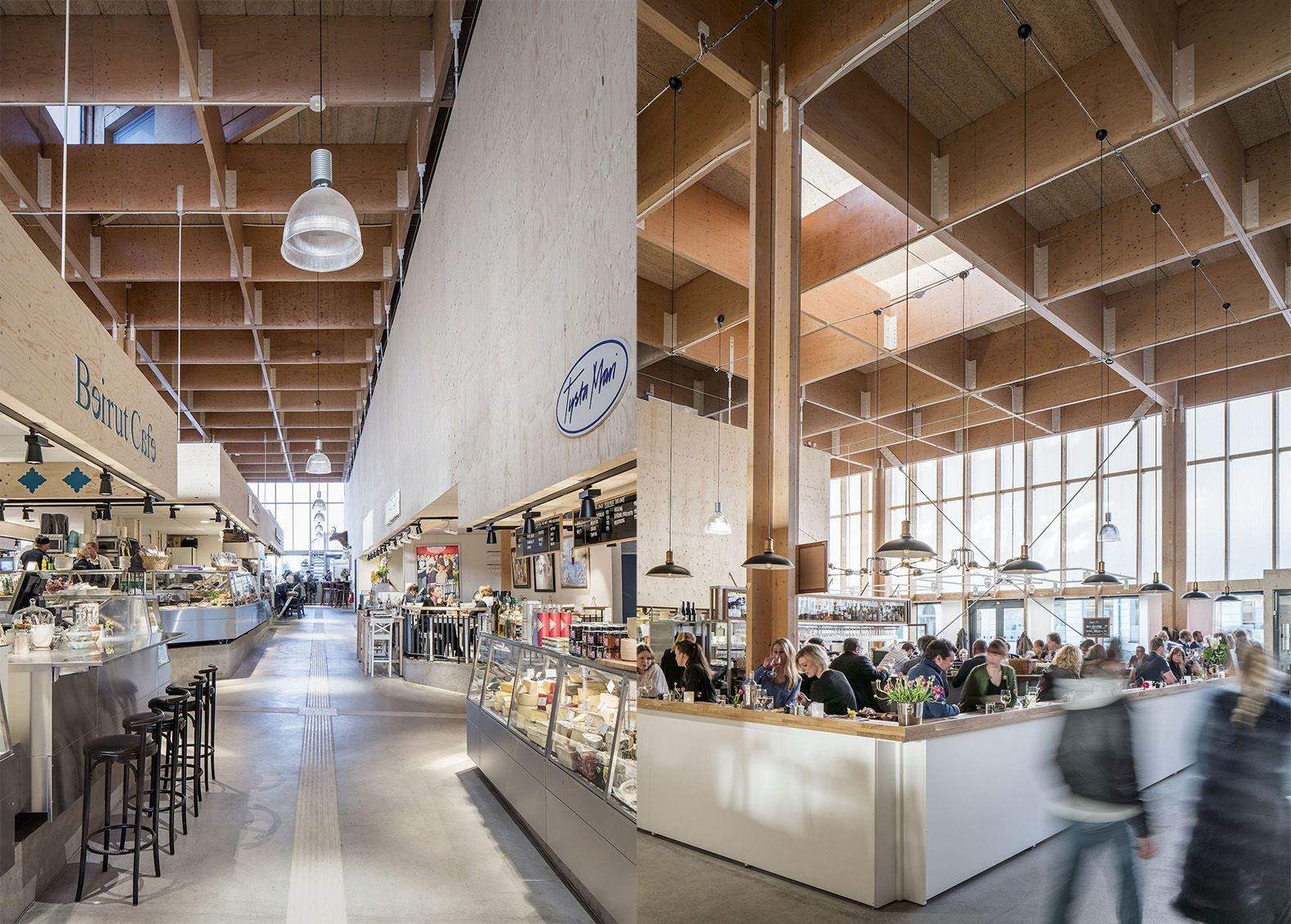 Temporary Market Hall Made From Sustainable Materials Pops Up In Stockholm Indoor Markets Hall Design Hall