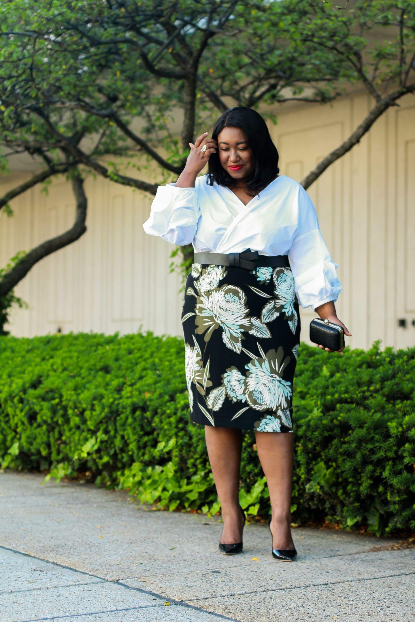 3e847999b6e Plus Size Fashion for Women • Plus Size Pencil Skirt Outfit Idea • Statement  Sleeves