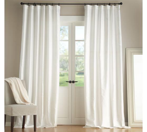 Dupioni Silk Pole Pocket Curtain Brownstone White Curtains