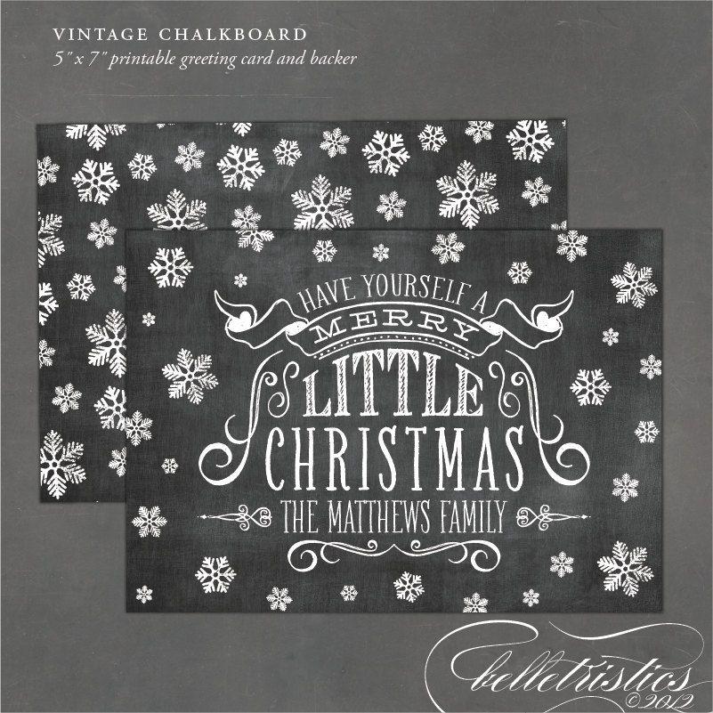 Printable chalkboard holiday card, Print at home Christmas card ...