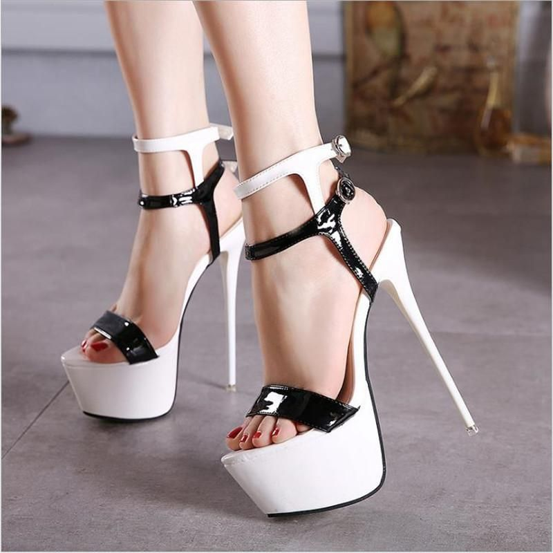 FSJshoes - FSJ Shoes Women s White Super High Pencil Heel Platform Stripper  Shoes - AdoreWe.com 371f367a7642