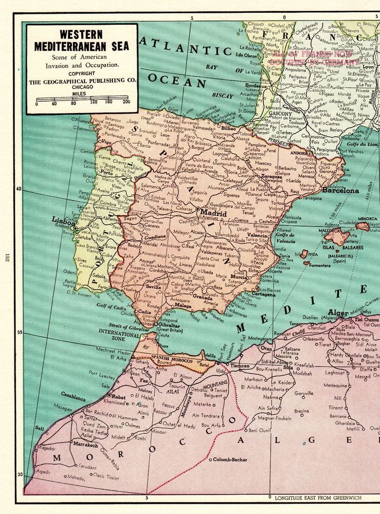Spain France Italy Map : spain, france, italy, Antique, MEDITERRANEAN, Poster, Print, Morocco, Italy