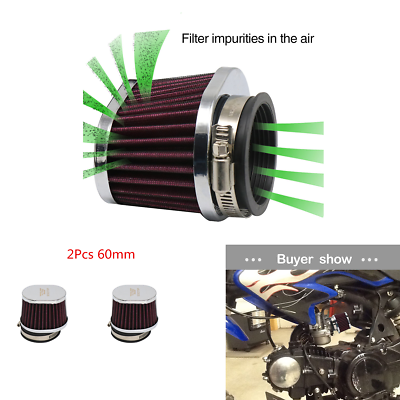60mm 2Pcs Oval Cold Air Intake Filter Cleaner Pod Red For