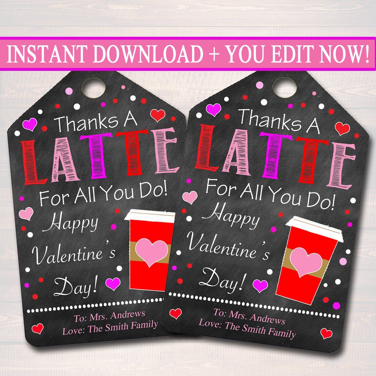 Valentine's Day Coffee Gift Tags, Staff Teacher Volunteer Appreciation Gift, Thanks a Latte For All You Do Label,