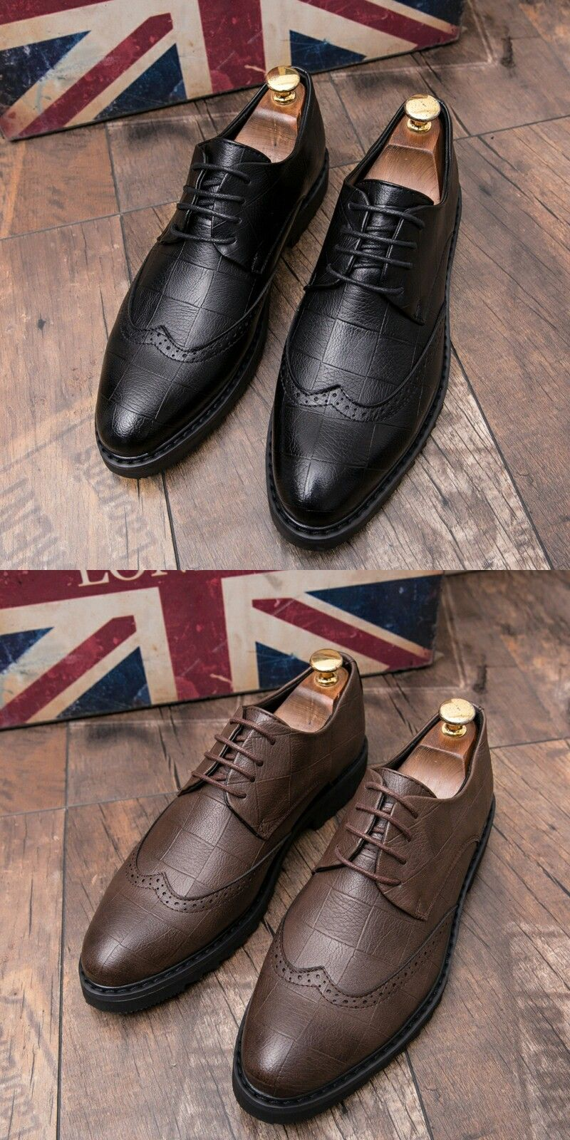 US  27.2 Prelesty Luxury Men s Pointed Toe Dress Shoes Carved Brogue Party Wedding  Oxford Business Stylist ba14b38278ea