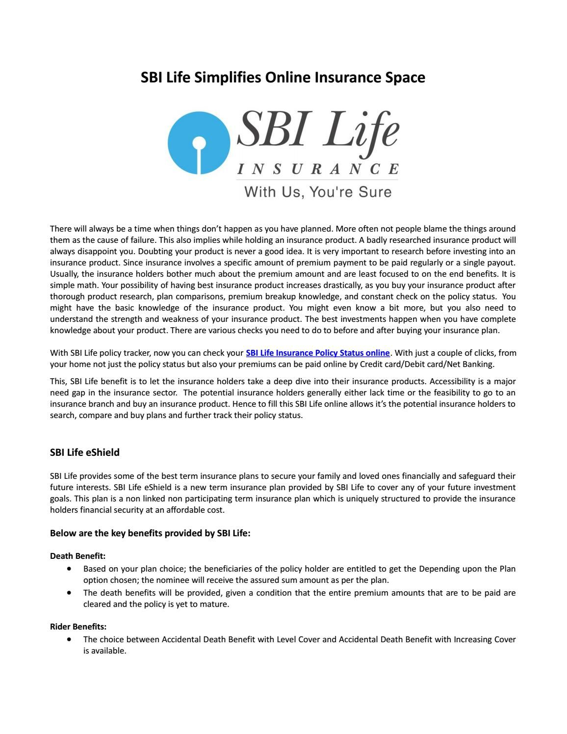 Sbi Life Eshield A Pure Term Plan Life How To Plan Informative