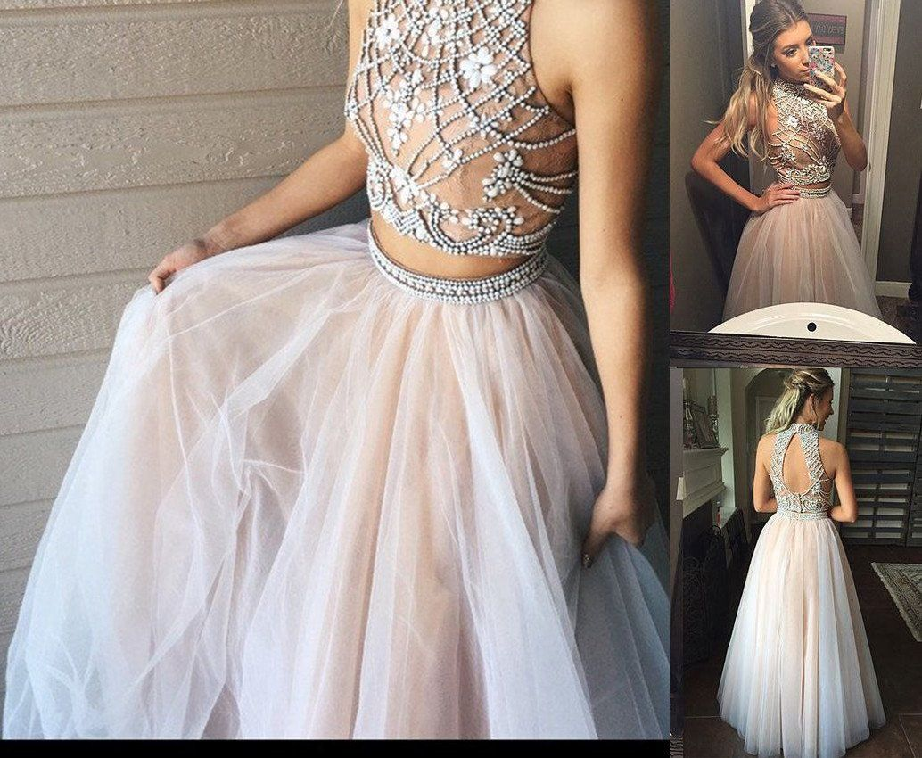 Two piece a line tulle beading pretty high neck prom dresses
