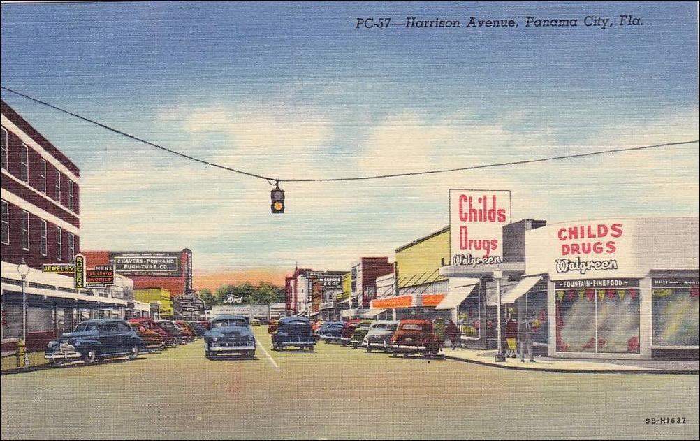 Harrison Avenue Panama City Florida 30 40s Drug Store Panama City Panama Panama City Florida Panama City Beach Fl