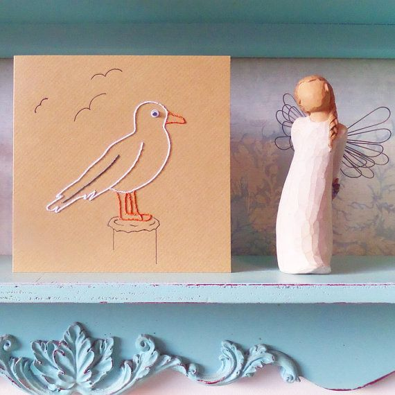 Hand Stitched Seagull Greetings Card. by LilianAliceLtd on Etsy