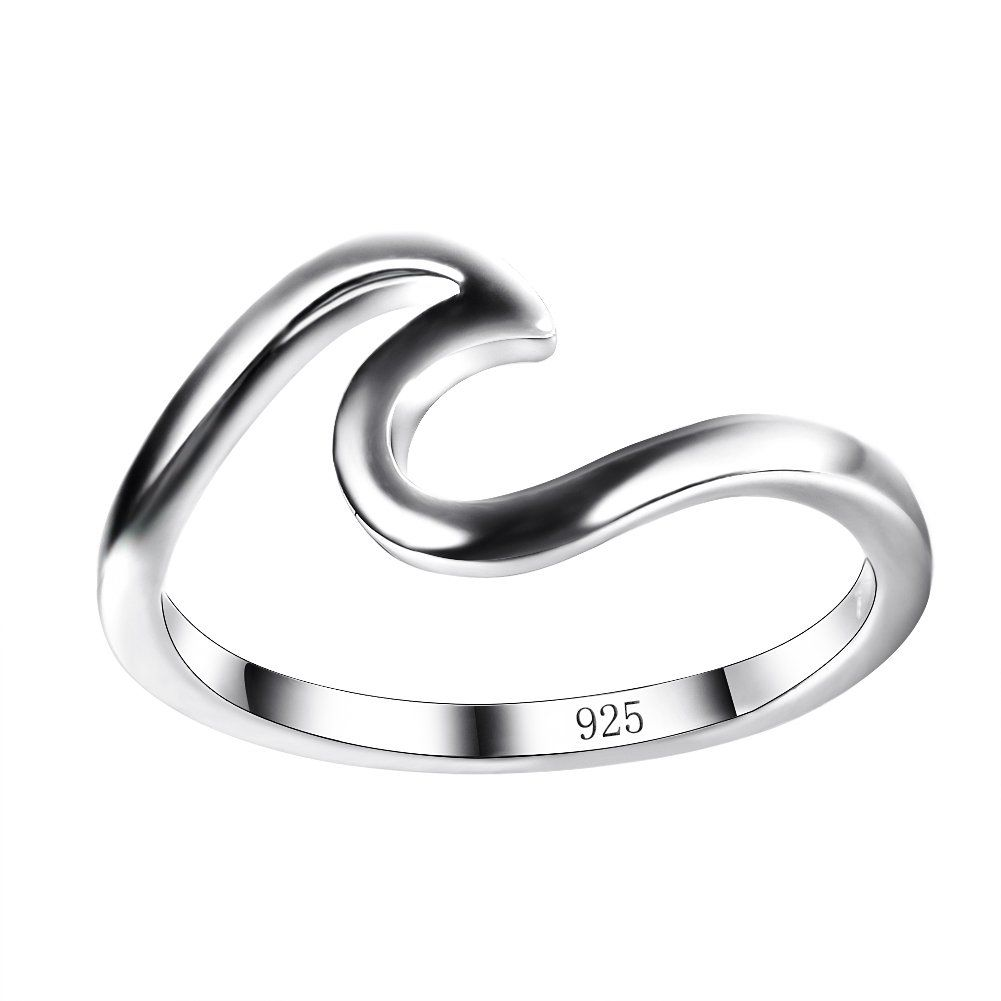 025abd4df83d7 Amazon.com: Chic 925 sterling Silver Wave Cut Girl Ring, Designed ...