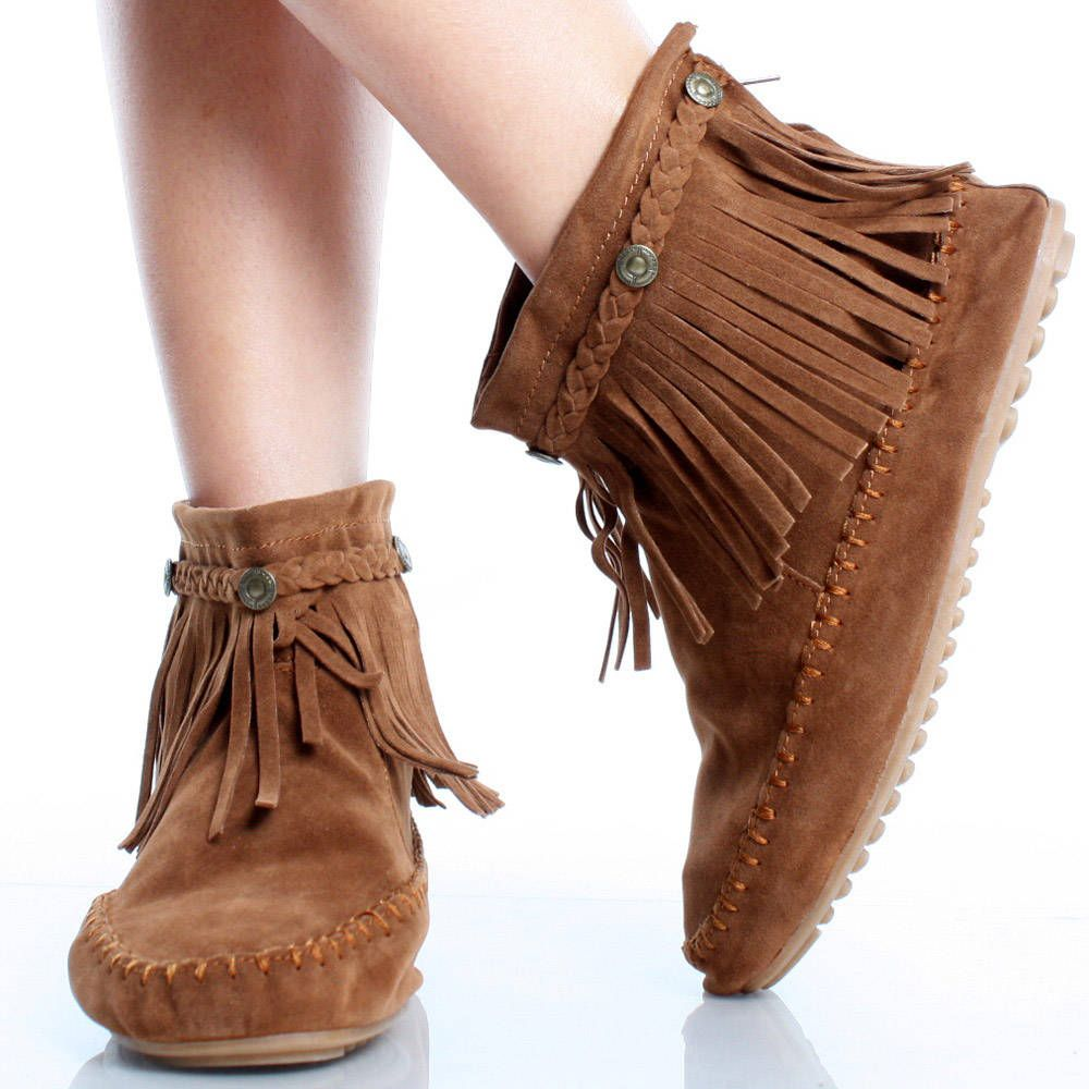 Women's Fringe Moccasin Ankle Bootie