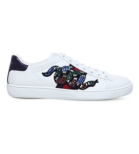 GUCCI - Ace snake-embroidered leather
