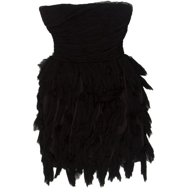 Elizabeth and James Silk Mini Dress ($65) ❤ liked on Polyvore featuring dresses, black, strapless cocktail dress, ruffle mini dress, silk cocktail dress, strapless mini dress and silk dress