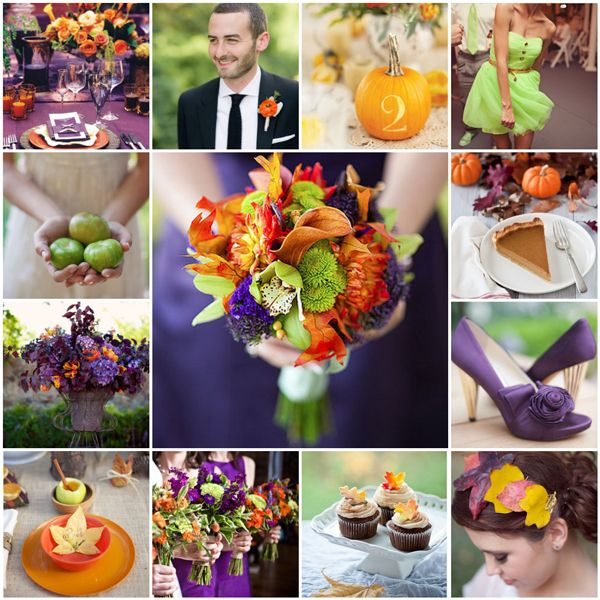 Purple Wedding Orange Green Color Schemes