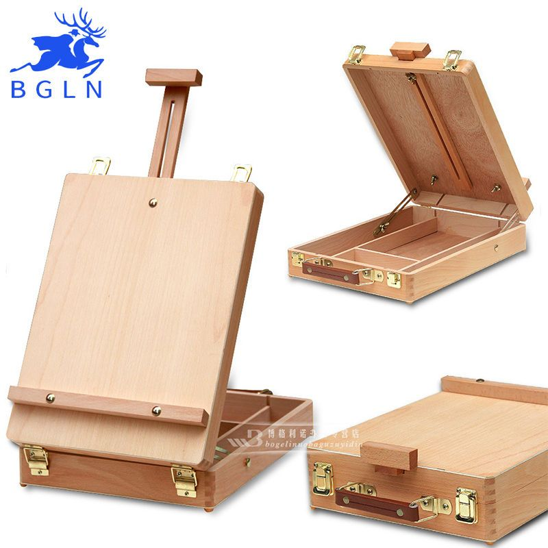 Outdoor Artist Wooden Box Easel Drawing Sketching Supply Painting Desktop