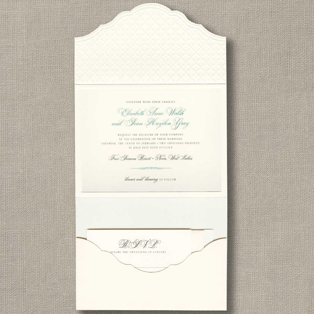 wedding stationery folders%0A Embossed Pocket Folder Layered Invitation