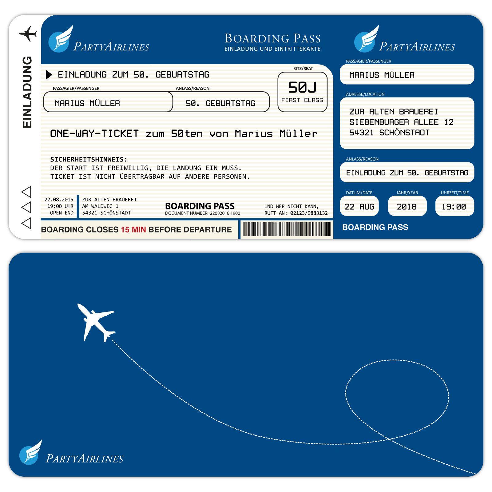 einladungskarten zum geburtstag als flugticket – blau, Einladung
