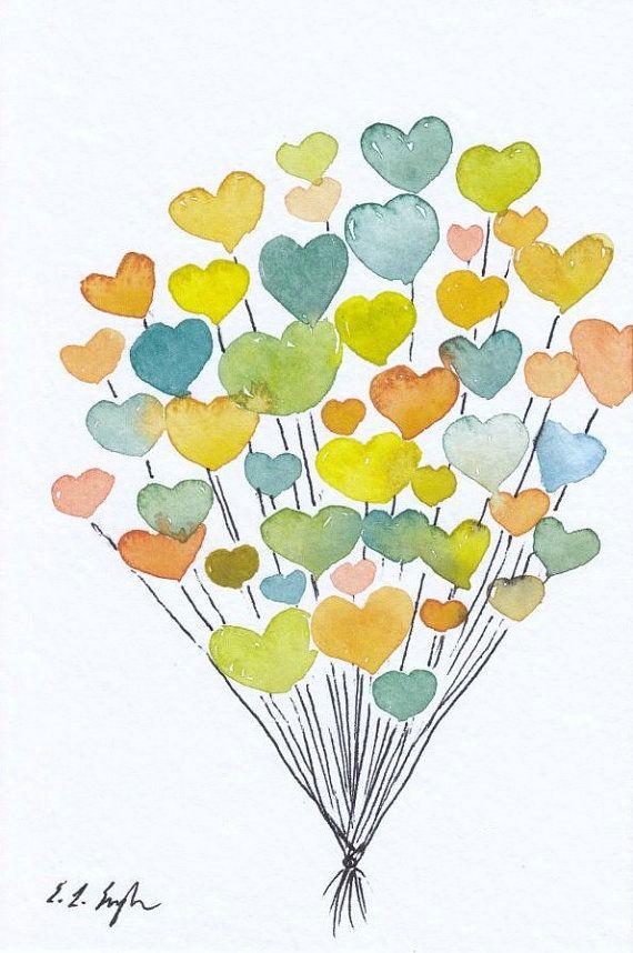 Watercolor Hearts Nursery Decor Original Watercolor Painting 4x6