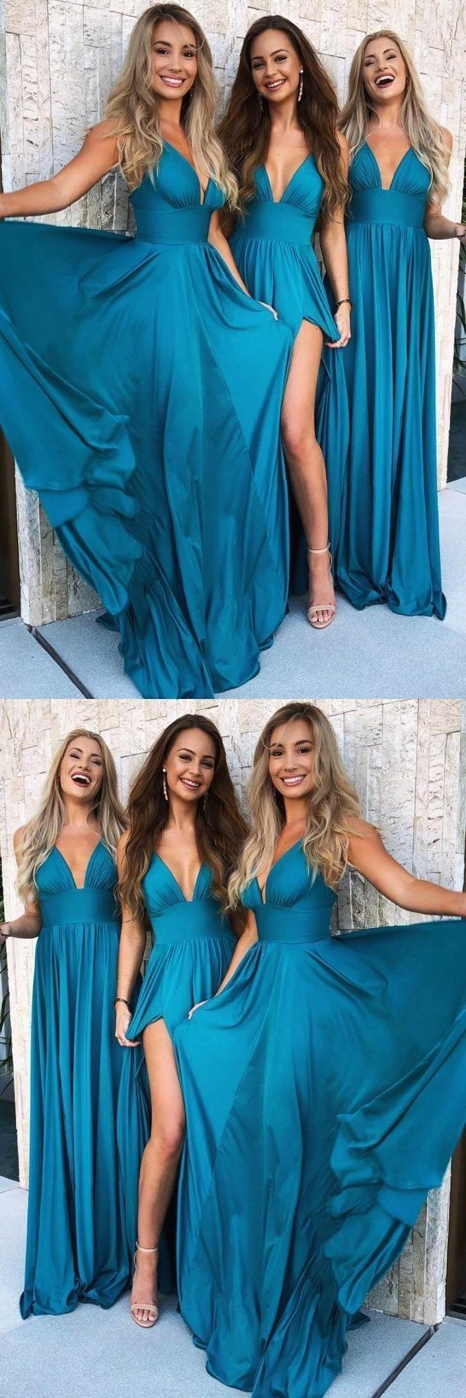 Sexy aline prom dresses chiffon deep vneck floorlength turquoise