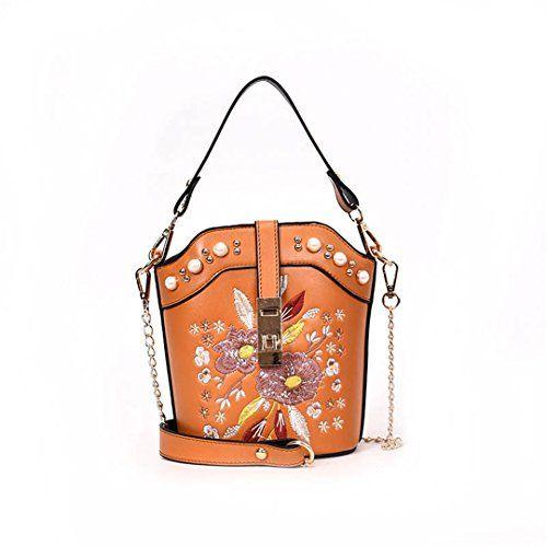 9fd95ee8e9 STTB Flower Embroidery Bucket Rivet Chain Women Messenger Bags Vintage  Leather Handbags For Famous Design Bolsa