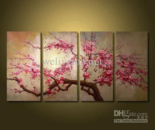 Framed 4 Panel Large Chinese Cherry Blossom Flower Oil Painting On Canvas Art Home Decoration Picture Xd0163 Tree Painting Flower Painting Oil Painting Flowers