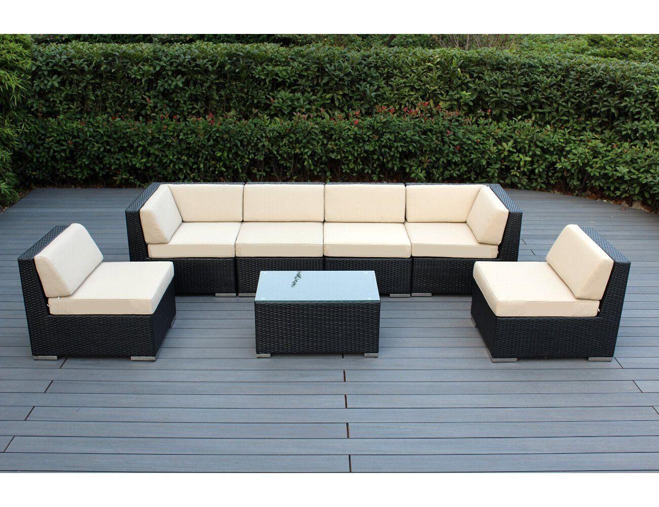 Ohana 7Piece Outdoor Patio Wicker Furniture Sectional