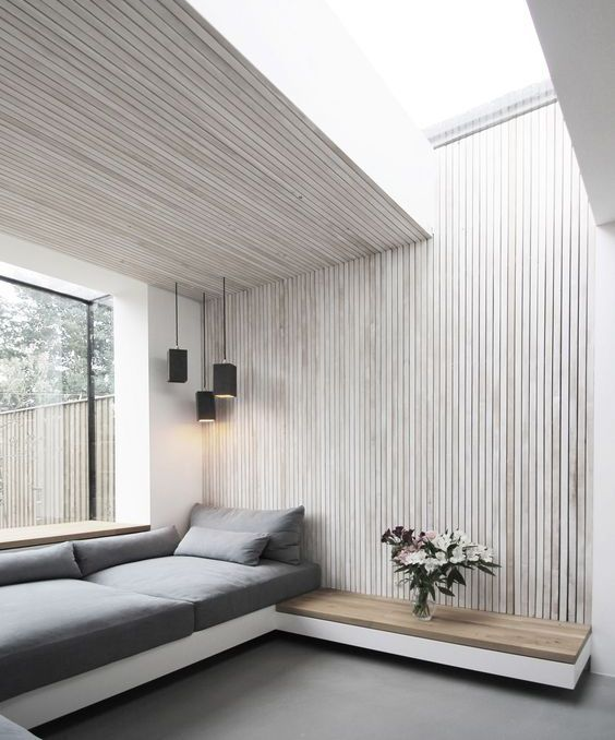 Spacious Grey Living Room Wooden Walls Great Roof And Side Windows And Black Corner House Extension Design Interior Architecture Design Interior Architecture