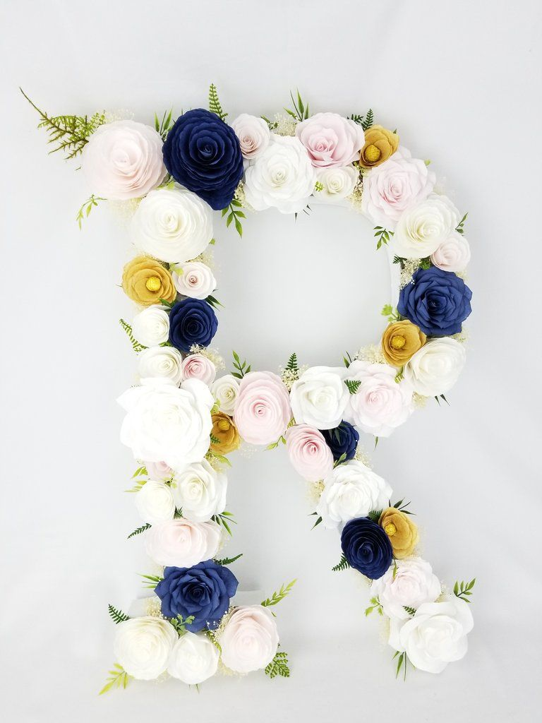 Floral Letter Greenery Style Blush Navy Blue Gold