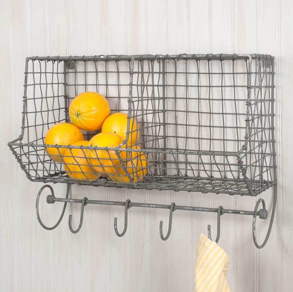 New Country Primitive Farmhouse GENERAL STORE WIRE WALL BASKET HOOKS ...