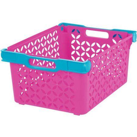 Girl's Large Decorative Basket, Pink