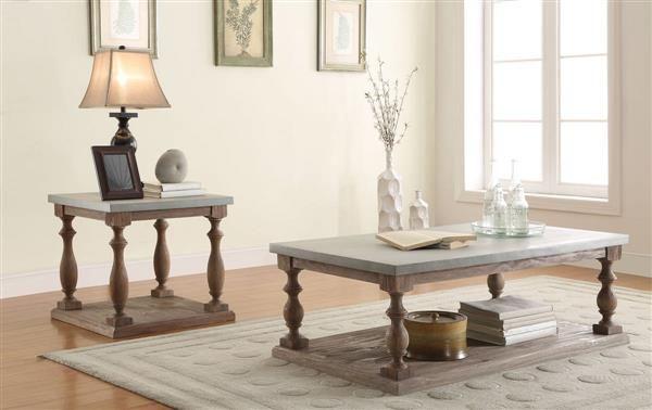 Leah Gray Oak Wood Rectangular Coffee Table Set Coffee Table Coffee Table Setting Dining Room Table Set