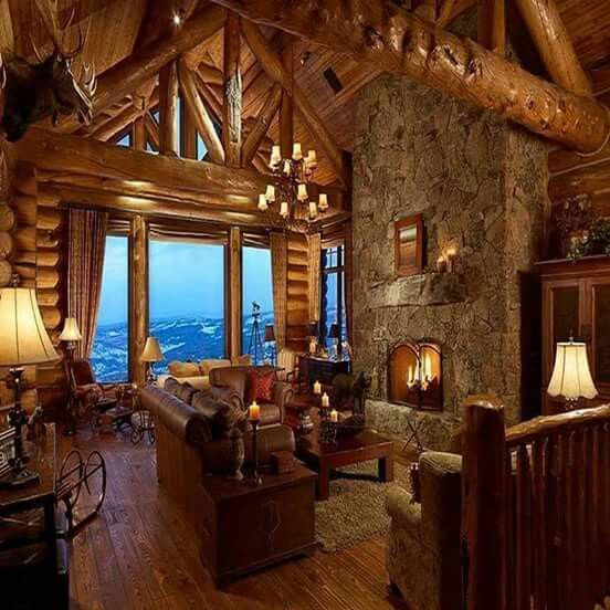 Log Cabin Living, Restaurant, My Dream Home, Log Cabins, Interiors, Dreams Part 91