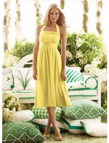 A line Halter Tea Length Chiffon Bridesmaid Dresses