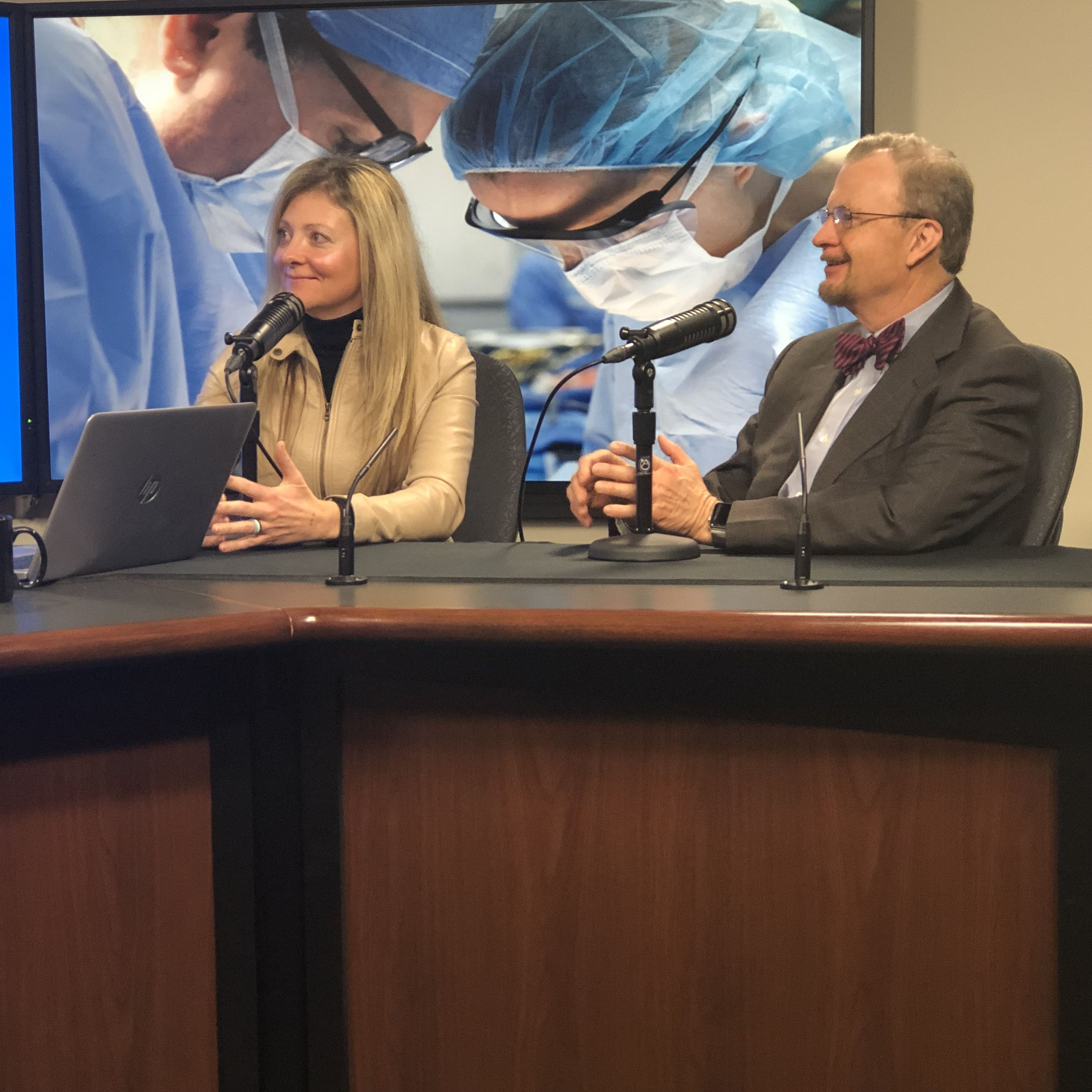 Mollie Luhman and Dr  Mark Stegall being interviewed on Mayo Clinic