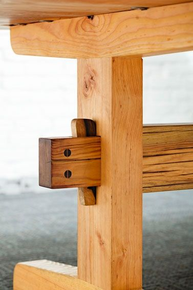 Through mortise and tenon trestle base with wedged english for Portland reclaimed wood furniture