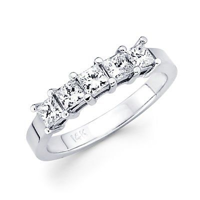 womens wedding ring princess cut white gold | 14k White Gold Diamond Princess Cut Womens Ladies Wedding Ring ...