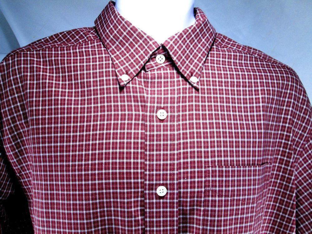 Mens L.L. Bean Shirt  Large 100% cotton Cranberry Long sleeve Wrinkle resistant #LLBean #ButtonFront